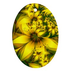 Beautiful Yellow Green Meadow Of Daffodil Flowers Oval Ornament (two Sides) by beautifulfractals
