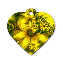 Beautiful Yellow Green Meadow Of Daffodil Flowers Dog Tag Heart (one Side) by jayaprime