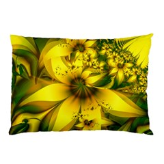 Beautiful Yellow Green Meadow Of Daffodil Flowers Pillow Case by jayaprime
