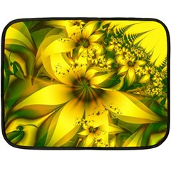Beautiful Yellow Green Meadow Of Daffodil Flowers Fleece Blanket (mini) by jayaprime
