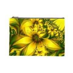 Beautiful Yellow Green Meadow Of Daffodil Flowers Cosmetic Bag (large)  by jayaprime