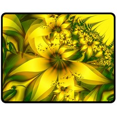 Beautiful Yellow Green Meadow Of Daffodil Flowers Fleece Blanket (medium)  by beautifulfractals