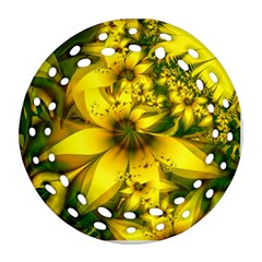 Beautiful Yellow Green Meadow Of Daffodil Flowers Ornament (round Filigree) by beautifulfractals