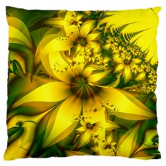 Beautiful Yellow Green Meadow Of Daffodil Flowers Large Cushion Case (two Sides) by jayaprime