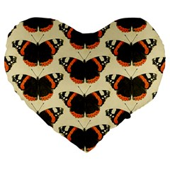 Butterfly Butterflies Insects Large 19  Premium Flano Heart Shape Cushions by Celenk