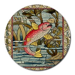 Fish Underwater Cubism Mosaic Round Mousepads by Celenk