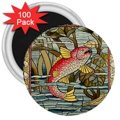 Fish Underwater Cubism Mosaic 3  Magnets (100 Pack) by Celenk