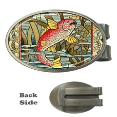 Fish Underwater Cubism Mosaic Money Clips (oval)  by Celenk