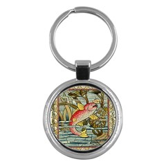 Fish Underwater Cubism Mosaic Key Chains (round)  by Celenk