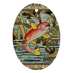 Fish Underwater Cubism Mosaic Oval Ornament (two Sides) by Celenk