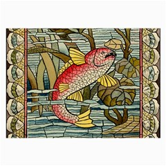 Fish Underwater Cubism Mosaic Large Glasses Cloth (2 Side) by Celenk