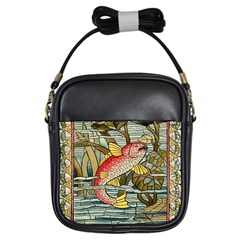 Fish Underwater Cubism Mosaic Girls Sling Bags by Celenk