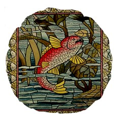 Fish Underwater Cubism Mosaic Large 18  Premium Round Cushions by Celenk