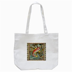 Fish Underwater Cubism Mosaic Tote Bag (white) by Celenk