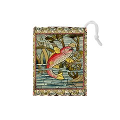 Fish Underwater Cubism Mosaic Drawstring Pouches (small)  by Celenk