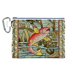 Fish Underwater Cubism Mosaic Canvas Cosmetic Bag (l) by Celenk
