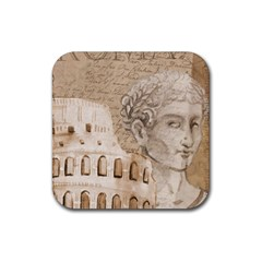 Colosseum Rome Caesar Background Rubber Square Coaster (4 Pack)  by Celenk
