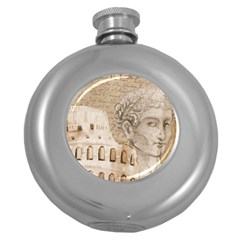 Colosseum Rome Caesar Background Round Hip Flask (5 Oz) by Celenk
