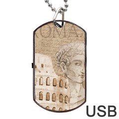 Colosseum Rome Caesar Background Dog Tag Usb Flash (two Sides) by Celenk