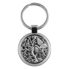 Black And White Pattern Texture Key Chains (round)  by Celenk