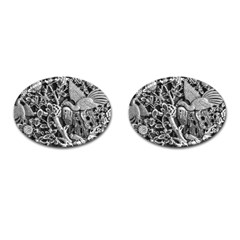 Black And White Pattern Texture Cufflinks (oval) by Celenk
