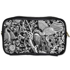 Black And White Pattern Texture Toiletries Bags by Celenk