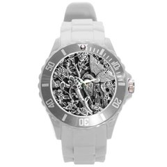 Black And White Pattern Texture Round Plastic Sport Watch (l) by Celenk