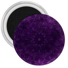 Background Purple Mandala Lilac 3  Magnets by Celenk
