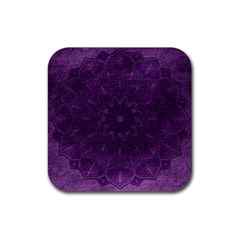 Background Purple Mandala Lilac Rubber Square Coaster (4 Pack)  by Celenk