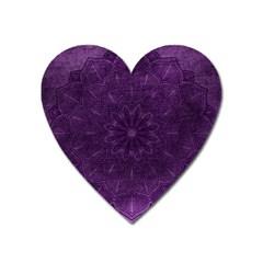 Background Purple Mandala Lilac Heart Magnet by Celenk