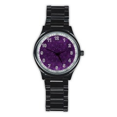 Background Purple Mandala Lilac Stainless Steel Round Watch