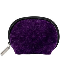 Background Purple Mandala Lilac Accessory Pouches (small)  by Celenk