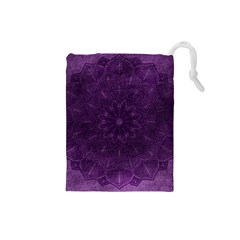 Background Purple Mandala Lilac Drawstring Pouches (small)  by Celenk