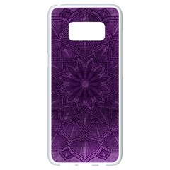 Background Purple Mandala Lilac Samsung Galaxy S8 White Seamless Case by Celenk