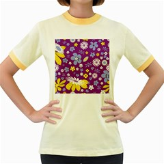 Floral Flowers Women s Fitted Ringer T Shirts by Celenk