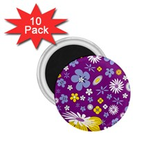 Floral Flowers 1 75  Magnets (10 Pack)  by Celenk