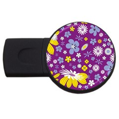 Floral Flowers Usb Flash Drive Round (4 Gb) by Celenk