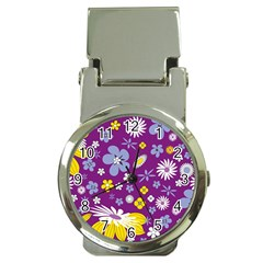 Floral Flowers Money Clip Watches by Celenk