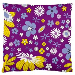 Floral Flowers Large Flano Cushion Case (two Sides) by Celenk