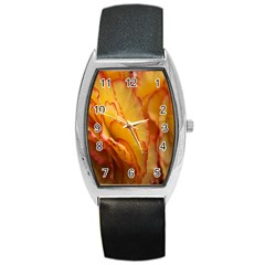 Flowers Leaves Leaf Floral Summer Barrel Style Metal Watch by Celenk