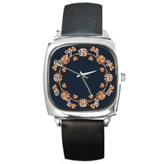 Floral Vintage Royal Frame Pattern Square Metal Watch by Celenk