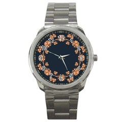 Floral Vintage Royal Frame Pattern Sport Metal Watch by Celenk