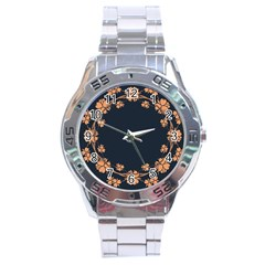 Floral Vintage Royal Frame Pattern Stainless Steel Analogue Watch by Celenk