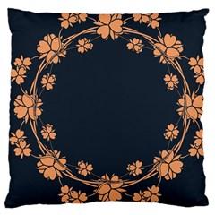 Floral Vintage Royal Frame Pattern Large Cushion Case (one Side) by Celenk