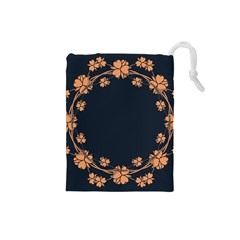 Floral Vintage Royal Frame Pattern Drawstring Pouches (small)  by Celenk