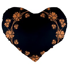 Floral Vintage Royal Frame Pattern Large 19  Premium Flano Heart Shape Cushions by Celenk