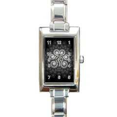 Fractal Filigree Lace Vintage Rectangle Italian Charm Watch by Celenk