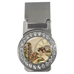French Vintage Girl Roses Clock Money Clips (cz)  by Celenk