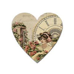 French Vintage Girl Roses Clock Heart Magnet by Celenk