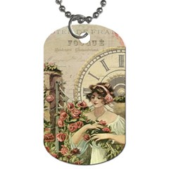 French Vintage Girl Roses Clock Dog Tag (two Sides) by Celenk